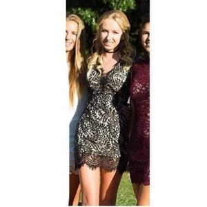 Short Black Bodycon Lace Dress! 🖤✨